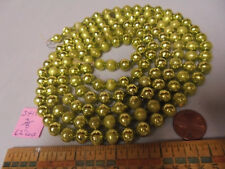 "Christmas Garland Mercury Glass, Chartreuse, 62"" Long 3/8"" Beads, 3418, Vintage"