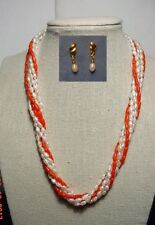 Charming Genuine Coral-fresh water pearl 6-strand Necklace with Earrings