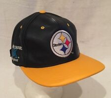 5b15f2172 Pittsburgh Steelers NFL Branded Leather Cap Modern Hat New With Tags  SnapBack