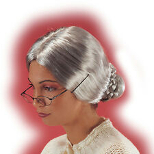 Perruque de mamie chignon gris grand mère gris cendré [2405] déguisement costume