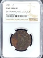 1829 1C Large Cent Coronet/Matron Head NGC Fine Details - Environmental Damage