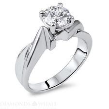 1.04 Ct G Si Round Enhanced Diamond Engagement Ring 14k White Gold Wedding