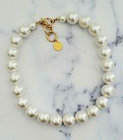 Vintage Anne Klein II Faux White Pearl Single Strand Choker Necklace *CHUNKY*