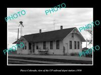OLD LARGE HISTORIC PHOTO OF PIERCE COLORADO, THE RAILROAD DEPOT STATION c1950