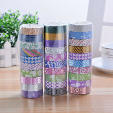 10 Rolls 3M Self Adhesive Sticker Set Glitter Washi Masking Tape Craft DIY Decor