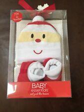 Baby Essentials  Christmas Santa Hat & Booties Gift Set 100% Cotton NIP 0-6M