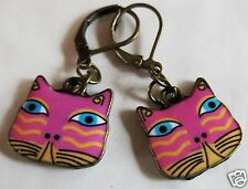 CAT FACE PINK & YELLOW ENAMEL CHARM BRASS TONE EARRINGS FOR PIERCED EARS