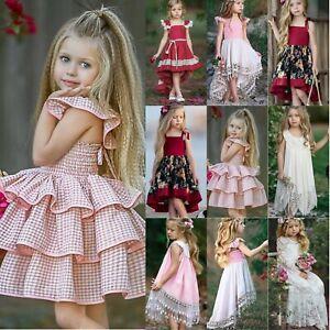Kinder Mädchen Prinzessin Kleider Ball Blumen Hochzeit Festlich Tutu Party Kleid