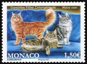 2021 Monaco, pets, cats, stamp, MNH