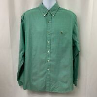 POLO RALPH LAUREN Classic Fit Long Sleeve Green Button Down Shirt Sz 17.5-36/37