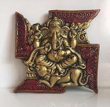 Large Swastika Ganesha Swastik Ganesh W/ Mouse Hinduism Symbol Wall Hanging Home