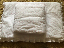 Baby Girls Pink And White Embroidered Cot Set Quilt And Bumper Set