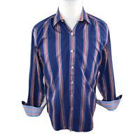 Robert Graham X Mens Blue Striped Button Flip Cuff Dress Shirt Sz Medium