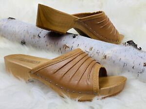 Women Wooden Slippers Natural Leather Open Toe