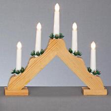 Décoration de noël en bois 35cm batterie 5 led light candlebridge