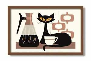 Mid Century Modern Art, Kitchen Art Print, Black Cat Lover Gift, Kitchen Decor