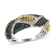 925 Sterling Silver Yellow Blue Diamond Cluster Ring Size 7 Ct 0.7 I3 Clarity