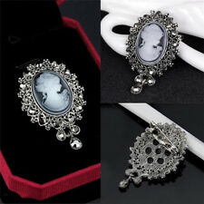 Vintage Cameo Victorian Style crystal Wedding Party Women Pendant Brooch Pin NEW