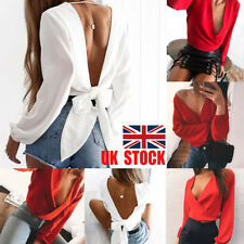 US Womens Wrap Deep V Party Crop Top Backless Lace Up Shirt Long Puff Sleeve Tee