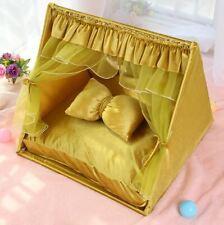 Princess Handmade Curtain Pet Dog Cat Bed House Sofa Frame Bed Mat Indoor Yellow