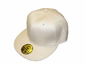 Baseball Cap Beige Plain Classic Retro Hip Hop Flat Peak Fitted Hat