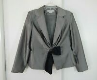 womens silver KAY UNGER 2pc suit skirt jacket formal party metallic large 14