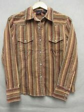 V5219 Bailey's Point Red/Orange/Black Velour Striped Pearl Snap Up Shirt Women M