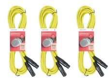 3 x Chord 6M Yellow Microphone Cable Lead XLR Mic Quality Band DJ Studio Disco