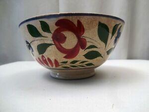 """Antique Hand Painted Spongeware Bowl Floral Fruit Design Collectibles Rare """"178"""