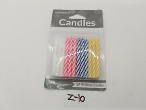 Pastel Striped Birthday Candles (24) - Party Supplies