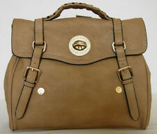 NEW GORGEOUS TAN CREAM HANDBAG BAG PURSE TOTE SATCHEL (V64)