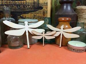 WOODEN DRAGONFLY Shapes 10, 8, 6cm (x3) laser cut wood cutouts crafts shape gift