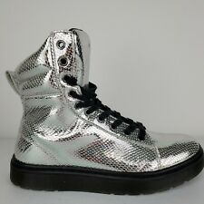 Women's Doc Marten's Mix Silver Chrome Metallic Leather Snakeskin Boots Size 8