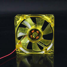 Yellow LED 80mm Hydro/Liquid Bearing Quiet PC Case Cooling Fan 3 Pin & Molex