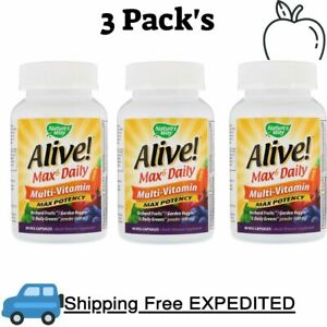 3 Pack's Nature's Way, Alive! Max6 Daily, Multi-Vitamin, 90 Veg Capsules