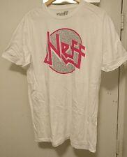 Mens NEFF HEADWEAR Logo Surf Skate Urban Tee Hot White Hot Pink Grey XL