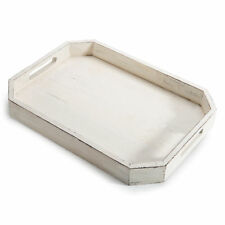 Rustic Whitewashed Wood Serving Tray with Cut-out Handles and Angled Edges