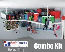 NEW SafeRacks Overhead Garage Storage Combo Kit - Two 4'x8' Racks, 18pc Hook Kit