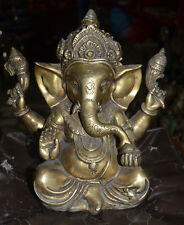 Siting Ganesh Hand Made Bronze Nepal. Special Hindu God For Fortune Ganesha