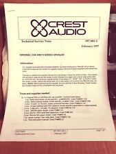 Crest Audio Original CA6 and 9 Series Upgrade/Retrofit Kit - Circa 1997