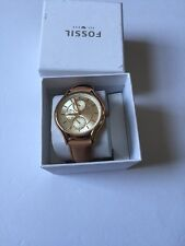 FOSSIL ROSE GOLD TONE,BEIGE,TAN TAUPE LEATHER, CRYSTAL DIAL WOMEN WATCH-BQ1586