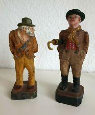 2 antike Handgeschnitzte Holz Figuren von Brienz Schweiz um 1850