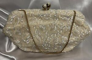 Vintage Bag by Josef W/Mirror & Comb Brass Kiss Lock White Beaded Sequenced Bag
