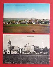 2 x AK BRAUNAU in Böhmen 1916 Ortsansicht, Kirche u. Benediktiner Kloster( 32568