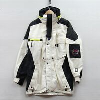 Vintage Helly Hansen Equipe Ski Jacket Size Medium White Black Neon Pit Zips