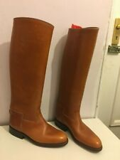 ANTIQUE WOMENS LADIES SIZE 6 KNEE HIGH BROWN TALL RIDING BOOTS SHOES LEATHER
