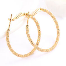Stylish womens Gorgeous Huggie 18k yellow gold filled Frosted hoop earrings