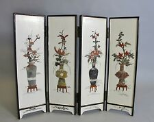 """Fine 14"""" Tall Antique Chinese Screen w/ Inset Hardstone Flowers  c. 1930"""