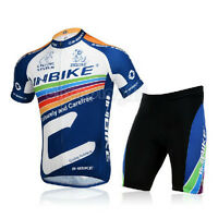 New C-Blue Cycling Bike Short Sleeve Clothing Set Bicycle Jersey + Shorts M-3XL