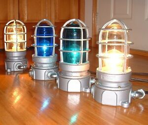150W TWO  NOS VINTAGE EXPLOSION PROOF CAGED LIGHT FIXTURE WITH GLASS
